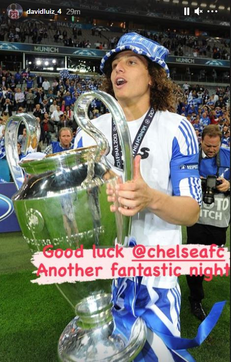 David Luiz, now at Arsenal, sent his best wishes to Chelsea