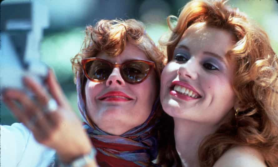 Louise, in a headscarf, and Thelma together in a still from the film