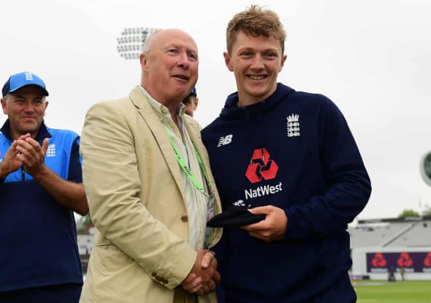 Vic Marks hands Dom Bess his first Test cap before the match against Pakistan at Lord's in May 2018.