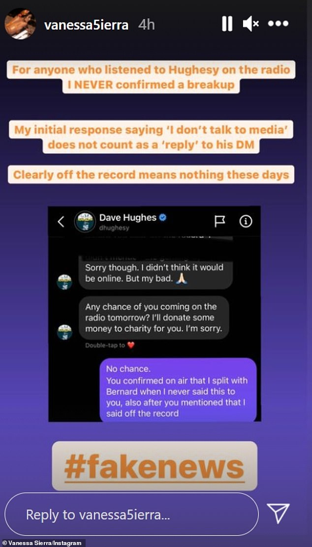 However Vanessa denied she made those comments, posting to her Instagram Stories on Monday: 'For anyone who listened to Hughesy on the radio I never confirmed a breakup'