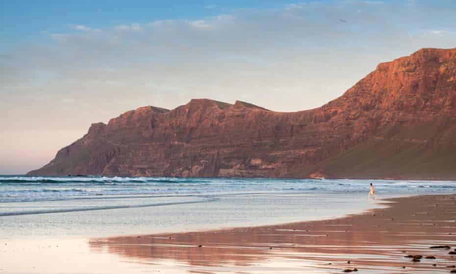 Surf-friendly Famara beach, Lanzarote.