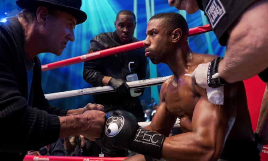 Michael B Jordan, right, and Sylvester Stallone in Creed II.