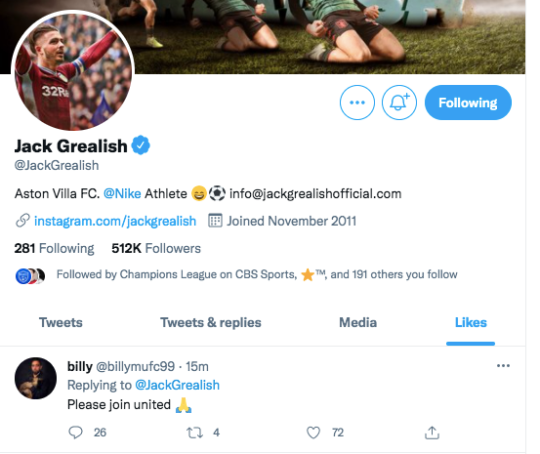 Jack Grealish likes Manchester United fan's post on Twitter
