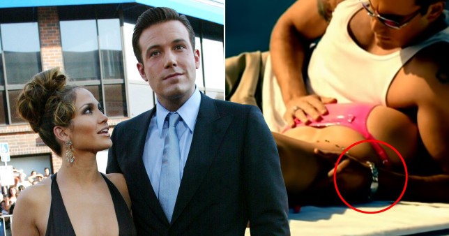 Ben Affleck and Jennifer Lopez at the Gigli premiere and in the Jenny from the Block music video