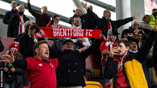 Brentford supporters at the Championship play-off semi-final second leg against Bournemouth
