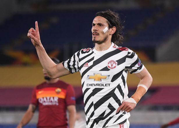 Edinson Cavani scored four goals in the Europa League semi-final win over Roma
