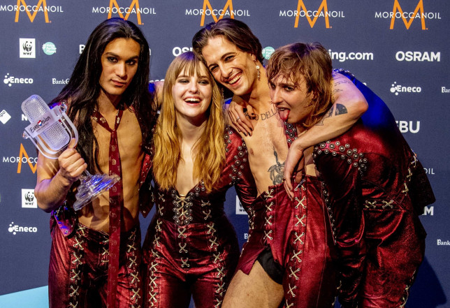 BGUK_2132376 - Rotterdam, NETHERLANDS - Rotterdam, The Netherlands, 65th Eurovision Song Contest 2021 in Ahoy Arena. Italy wins the Festival with the rock band Maneskin. Maneskin from Italy at the press conference after the Grand Final of the Eurovision Song Contest. Pictured: Maneskin BACKGRID UK 22 MAY 2021 BYLINE MUST READ: ThePhotOne / BACKGRID UK: +44 208 344 2007 / uksales@backgrid.com USA: +1 310 798 9111 / usasales@backgrid.com *UK Clients - Pictures Containing Children Please Pixelate Face Prior To Publication*