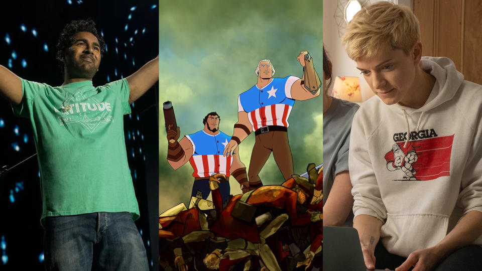 'Yesterday', 'America: The Motion Picture' and 'Feel Good'. (Universal/Netflix/Channel 4)