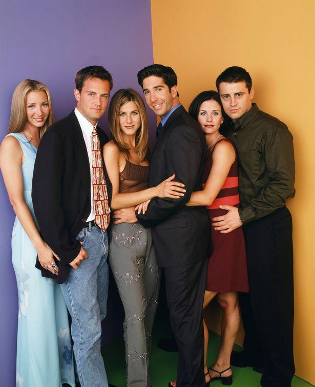 FRIENDS -- Pictured: (l-r) Lisa Kudrow as Phoebe Buffay, Matthew Perry as Chandler Bing, Jennifer Aniston as Rachel Green, David Schwimmer as Ross Geller, Courteney Cox as Monica Geller, Matt LeBlanc as Joey Tribbiani