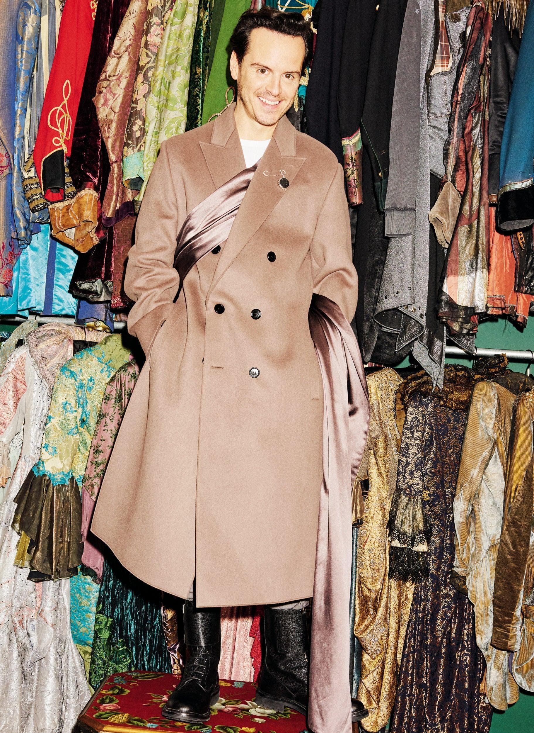 Dior coat, £3,300; trousers, £700; brooch, £370 (d