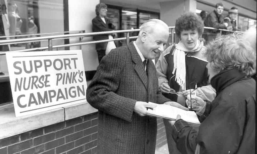 Graham Pink gathering signatures for his campaign in Stockport in 1991