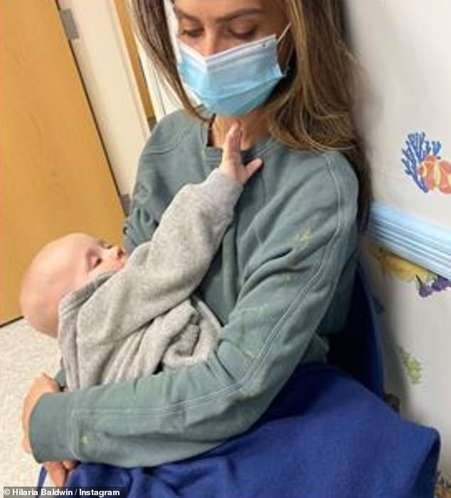 'It was one of those horrible moments a parent dreads': Hilaria Baldwin has revealed she was forced to seek medical attention for her eight-month-old son Eduardo after the baby had an allergic reaction