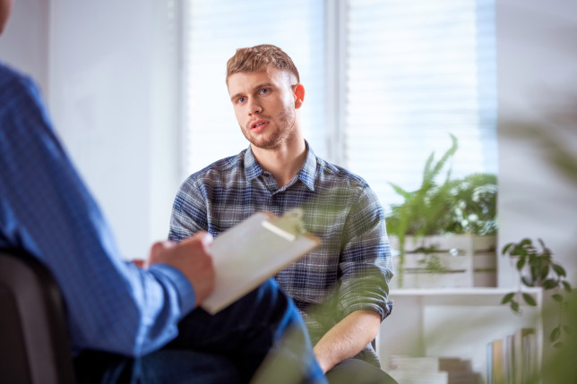 man receives counselling