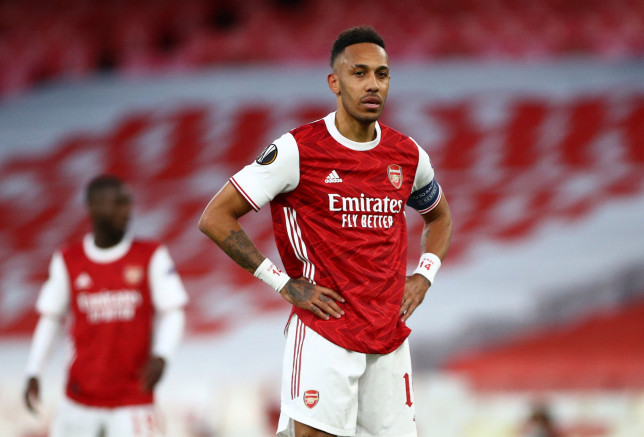 Pierre-Emerick Aubameyang failed to find the breakthrough as Arsenal crashed out of the Europa League
