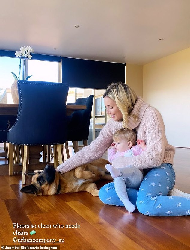 At home:Jasmine Stefanovic (pictured) offered fans a glimpse at her life at home with her baby daughter Harper, one, on Friday. The shoe designer, 37, shared two photos to Instagram showing off the inside of the home she shares with husband Karl Stefanovic