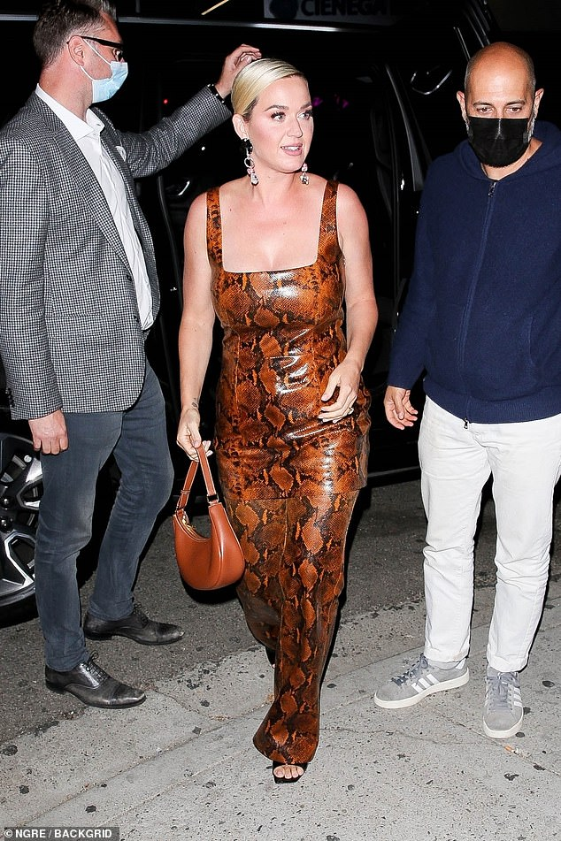 Star-studded: Katy Perry seen arriving to Kendall Jenner'sstar-studded 818 tequila launch party at the Nice Guy in West Hollywood this Friday evening