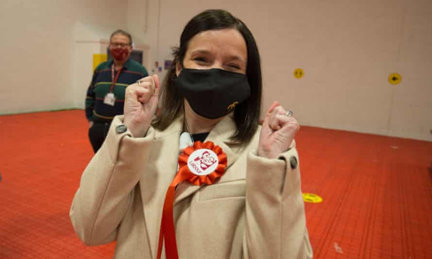 Labour's Elizabeth Buffy Williams celebrates after she wins the Rhondda seat from former Plaid Cymru leader Leanne Wood.