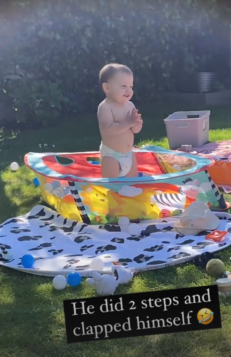 Lucy Mecklenburgh's son Roman in ballpit