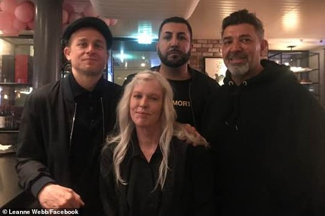 Famous friends: He's in Melbourne filming a new TV series, and Charlie Hunnam (far left) has been making some notorious new friends along the way. Pictured with former Comanchero bikie Amad 'Jay' Malkoun (far right)