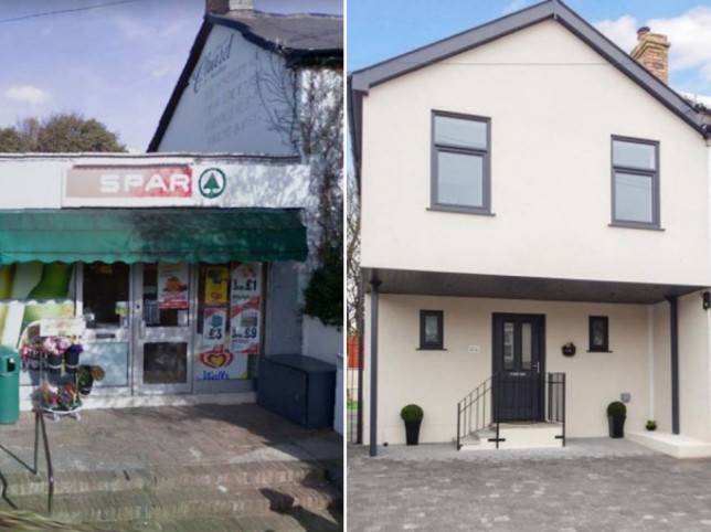 before and after pics of the  Transformation of spar corner shop into a home