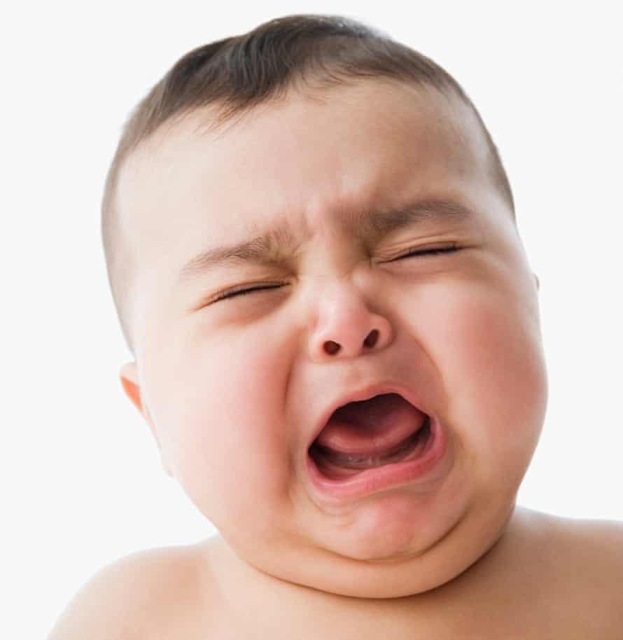 Studio shot of baby crying