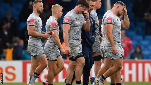 Sale players look dejected after defeat by Exeter