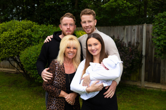Adam Thompson, brother Olly, Mum Tracey and partner Catherine with son Marley