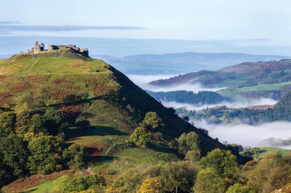 View of Castell Dinas Brân, Llangollen, Denbighshire, Wales, UK.