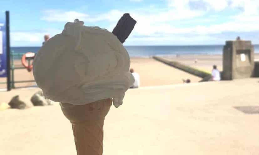 Minchella's ice-cream cone, with beach beyond