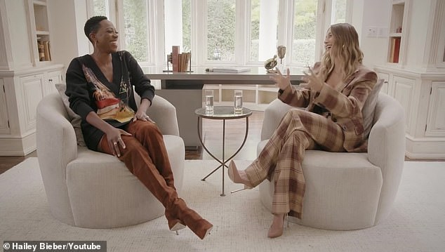 A good chat: Hailey and Orji sat on beige chairs as they talked faith in 2021