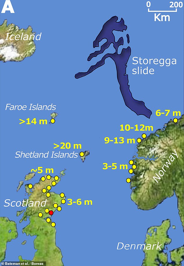 The Storegga tsunami was triggered when submarine glacial and interglacial sediments on the coastal slopes of Norway's continental shelf shifted. Pictured: a map showing the source of the Storegga tsunami (in dark blue) with wave height estimates at various locations shown in yellow. The red circle represents the Montrose Basin study site in eastern Scotland