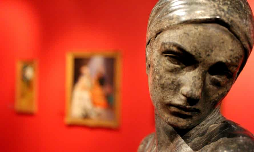 Close up detail of sculpture at The Potteries Museum and Art Gallery, Staffordshire, UK.