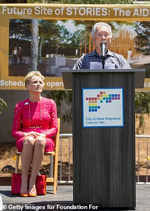 Celebrity support: At the event, Sharon watched on as George Takei spoke