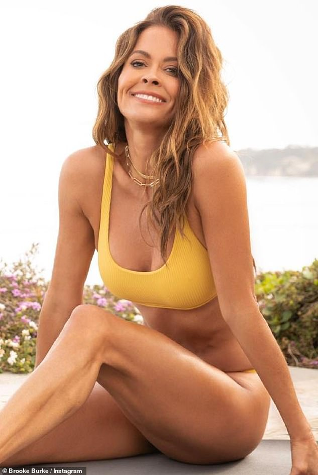 An app-ortunity:The beauty offers workouts on her app called Brooke Burke Body. 'Brooke Burke Body is an effective, easy to follow, high quality work out in bite-sized increments. If you want flat sexy abs, lean toned legs or a whole body make-over, this fitness program is for you!' it says on her app