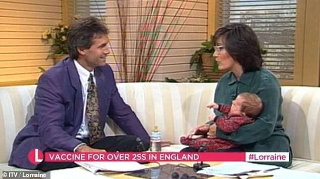 Watching the clip back, Lorraine - seen with Dr Hilary cooed: 'Do you remember a week or two after she was born we brought her into GMTV, look at her!'