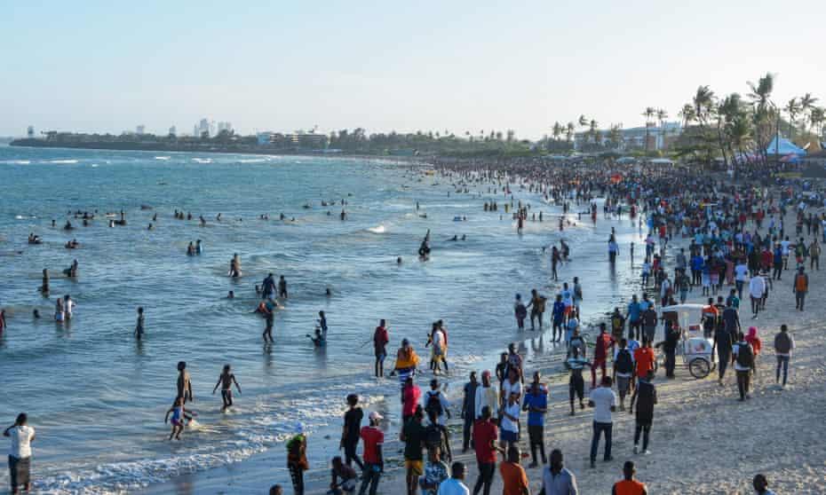 People at Coco beach, Dar es Salaam, Tanzania, January 2020.
