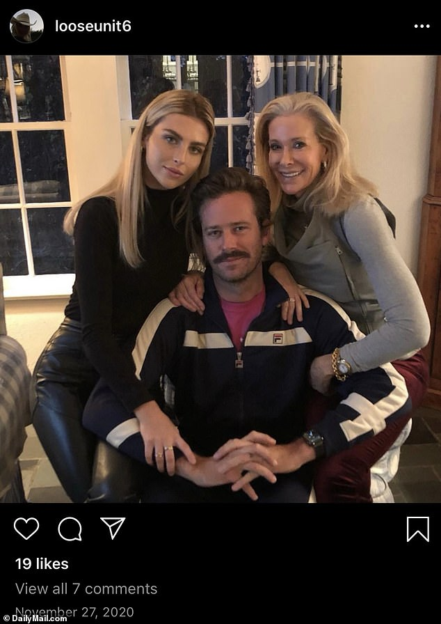 Coming forward: After the DM leaks, several of Hammer's former partners – including Paige Lorenze and Courtney Vucekovich – accused him of being controlling and physically abusive during the span of their relationships; Armie and Paige pictured in 2020