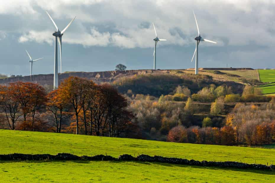 Wind turbines at Carsington Pasture, Derbyshire, UK.