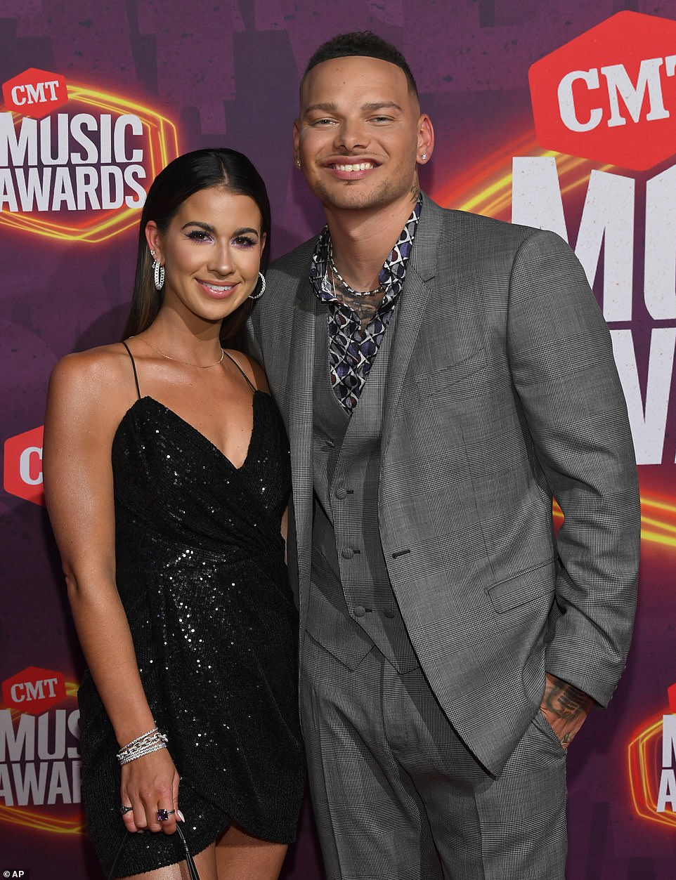 Support system: The singer-songwriter, 27, was accompanied by his stunning wife Katelyn Jae, who he married in 2018
