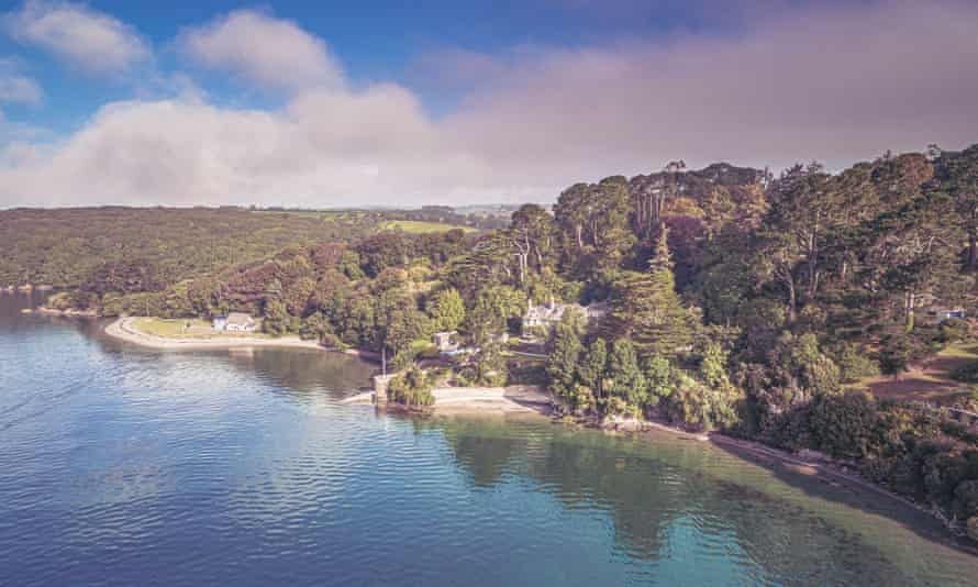 Aerial photography of  Pedn Billy gardens run right down to the Helford River