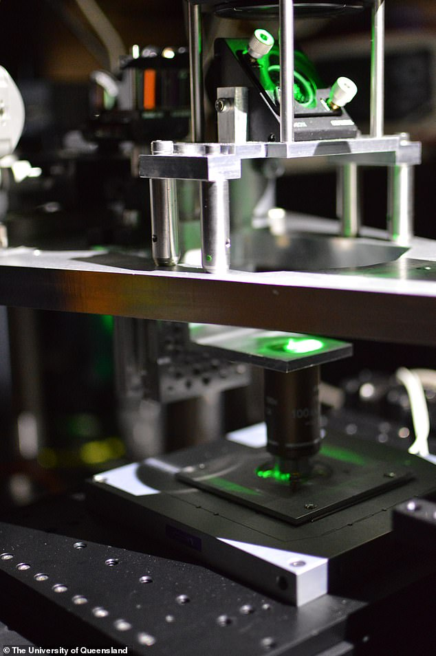 The microscope, pictured, operates by means of quantum entanglement — the effect which theoretical physicist Albert Einstein once referred to as 'spooky interactions at a distance'