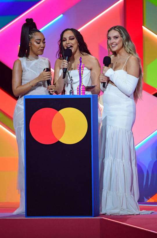 Little Mix accept the award for Best British Group during the Brit Awards 2021.