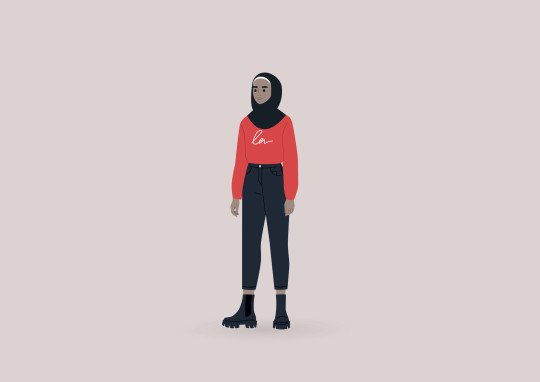 A young female Muslim character wearing a hijab