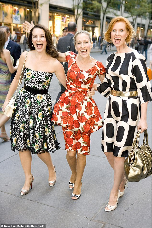 Girl gang: While Kim Cattrall, who played Samantha Jones during SATC's initial run, declined to reprise her role, the returning three leading ladies on the much-loved sitcom looked thrilled to reunite for the first time on screen since 2010's Sex and the City 2 (pictured in 2008)