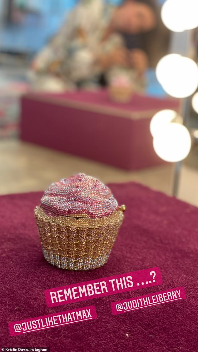 Davis also shared a snap of a stunning$4,495 Judith Leiber crystal cupcake clutch, which appeared in the first Sex and the City film