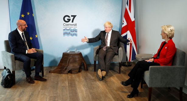 Prime Minister Boris Johnson (centre) holds a meeting European Commission President Ursula von der Leyen and European Council President Charles Michel at the G7 summit
