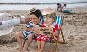 Oxfam campaigners pose as G7 leaders on a beach. Oxfam is calling on the G7 countries to commit to cutting emissions further and faster, whilst providing more finance to help the vulnerable countries.