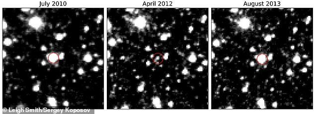 The researchers say VVV-WIT-08 reached its dimmest in April 2012 and the total event duration was a few hundred days