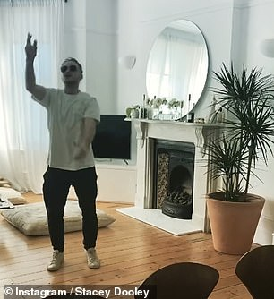 Getting into the spirit: Stacey Dooley shared a hilarious video of her beau Kevin Clifton dancing to Three Lions (It's Coming Home)