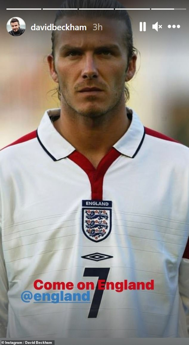 Throwback: Football legend David shared a throwback from his own England days to mark the big match